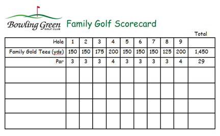 Family Golf Month Scorecard
